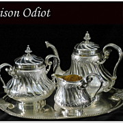 SOLD ODIOT: Prestigious Antique French Sterling Louis XV Tea Pot, Cream & Sugar Set