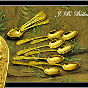 SOLD BELLAVOINE: 12 Antique French Vermeil Sterling Spoons Renaissance Style 1819-1838