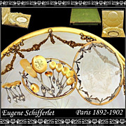 SALE PENDING SCHIFFERLET: Sterling vermeil Dessert Set w Amazing Dish and Original Box!