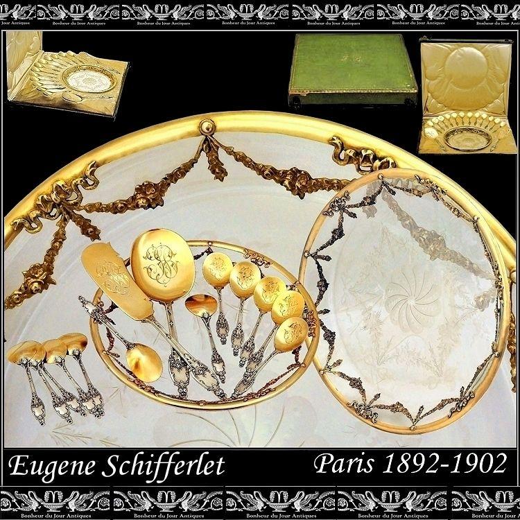 SCHIFFERLET: Sterling vermeil Dessert Set w Amazing Dish and Original Box!