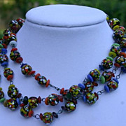 Old Spatter  Art Glass Hand Wired Necklace