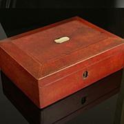 Wonderful Georgian Red Leather  Sewing Case