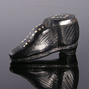 Early Leather Shoe Snuff Box