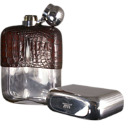 SOLD Large Antique Crocodile Hip Flask by G & J W Hawksley of Sheffield