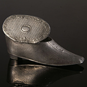 Antique Pewter Shoe Snuff Box