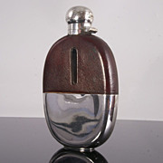 SOLD Large Leather Clad Hip Flask