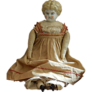 "REDUCED 17"" antique blonde china head doll"