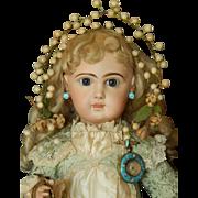 Antique wax flower hair garland