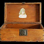 "10"" antique French fashion doll trunk"