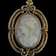 SALE Antique 10KT gold cameo pendant/pin