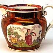 SOLD Antique English Copper and Pink Lusterware Creme Pitcher