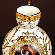 "SOLD Antique French Faience ""Fond Blanc""  Renaissance Pitcher w/Handle"