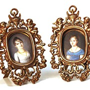 SOLD Vintage Pair of Miniature Bronze Picture Frames