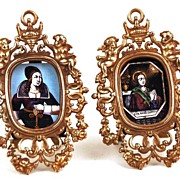 SOLD Vintage Pair of Bronze Miniature Picture Frames