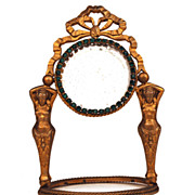 SOLD French Table/Vanity Mirror with Green Glass Stones
