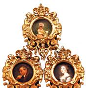 SOLD Miniature Cast Metal/Bronze Triple Picture Frame