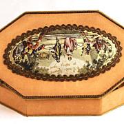 SOLD Commemorative French Bonbon Box w/ Color Lithograph Medallion