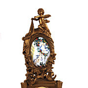 SOLD German Figural Bronze Mantle Clock w/Hand Painted Porcelain Medallion