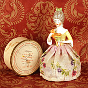 SOLD Vintage Coty Poudre Box in form of Half Porcelain Doll