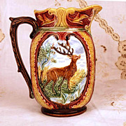 SOLD Exceptional Antique Wasmuel Majolica Pitcher w/Figural Medallion
