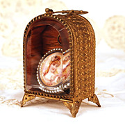 Antique French Gilded Brass and Beveled Glass Porte Montre
