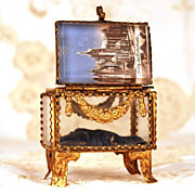 "SOLD To Antique French ""Grand Tour"" Beveled Eglomise Jewel Casket/Trinket Box"