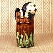 "French Orchies Saint Amand Majolica Pichet ""Chien qui sort du tonneau"""
