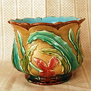 SOLD Antique French Majolica Cache Pot