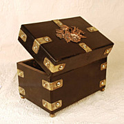 Antique Napoleon III French Coffre/Box with Copper and Brass Mounts
