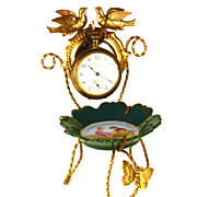 SOLD Antique French Gilded Brass and Hand Painted Porcelain Vide Poche/Porte Montre
