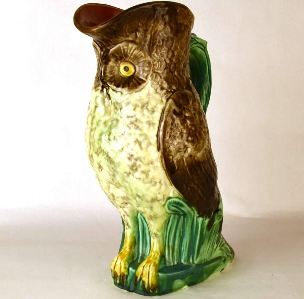 Rare Figural Owl Antique Mouzin Lecat Majolica Pichet/Pitcher