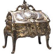Antique Nineteenth Century Cast Metal Argente French Bijoux Box in Form of French Standing Bur