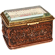 Unusual Antique Nineteenth Century Cast Copper and Brass Trinket Box with Beveled Glass