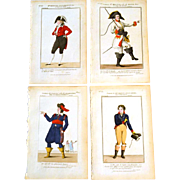 "RARE Set of Four Antique Eighteenth Century Copper Plate Hand Colored Engravings ""Galerie"