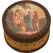 Antique Nineteenth Century French Bonbon Box with Color Lithograph