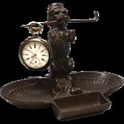Antique Nineteenth Century Bronze Figural Sculpture Vide Poche, Porte Montre