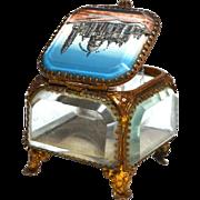 Antique  Grand Tour Brass and Beveled Glass Eglomise Basilique de Sacre Coeur Trinket Box, Cas