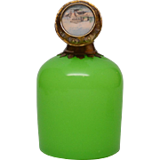 Antique Palais Royal Green Opaline Scent Bottle w/Eglomise Scene