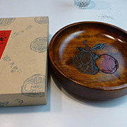 Vintage Japanese Hand Carved Painted Wood Bowl Okayama Original Box