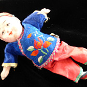 Oriental Composition Doll Original Silk Clothes