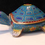 SALE PENDING Vintage Cloisonné Turtle Tortoise Trinket Box Chinese