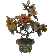 SOLD Chinese Flowering Jade & Semi-Precious Stones Tree in Cloisonné Pot