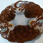 Old Majolica Plate Cherries on Closed Lattice