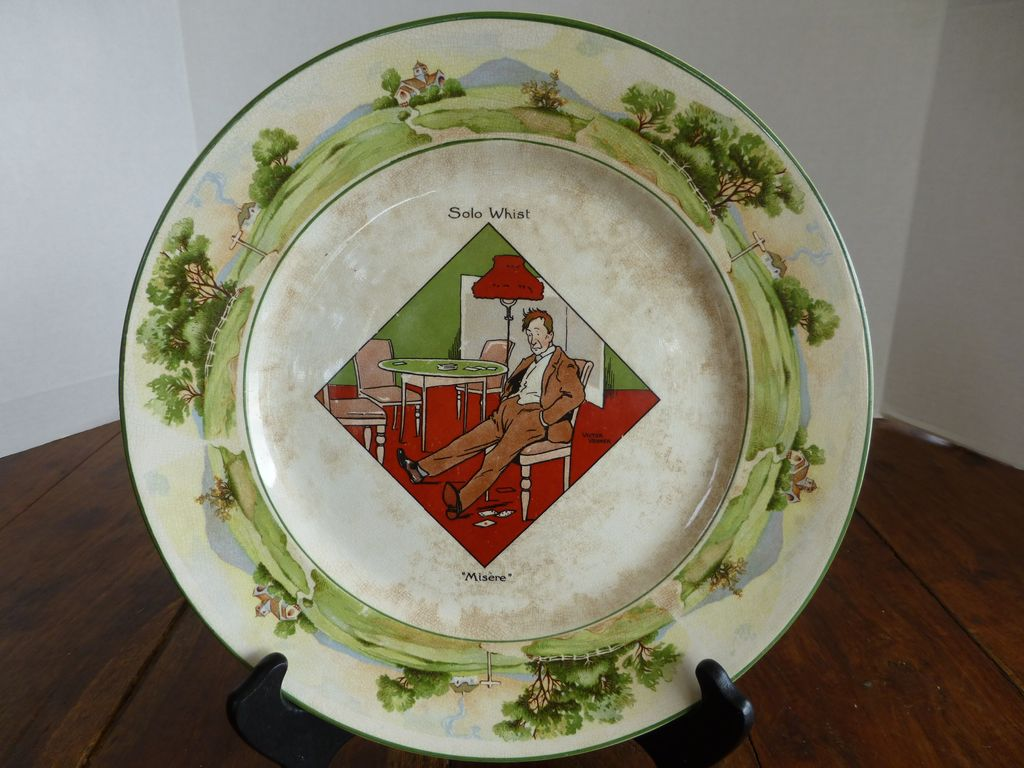 """Antique Warwick Ware """"Solo Whist Misere"""" Plate England"""