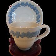 Wedgwood Embossed Queen's Ware Demitasse Cup & Saucer ETRURIA & BARLASTON