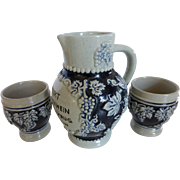 "Vintage German Salt Glazed Stoneware 1/2 Liter Wine Pitcher w 2 Cups Grapes Blue & Grey 6"""