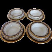 "Antique BOOTHS English Bone China ""Or Repousse"" 4 Crème Brûlée Dishes w Under Plates Co"