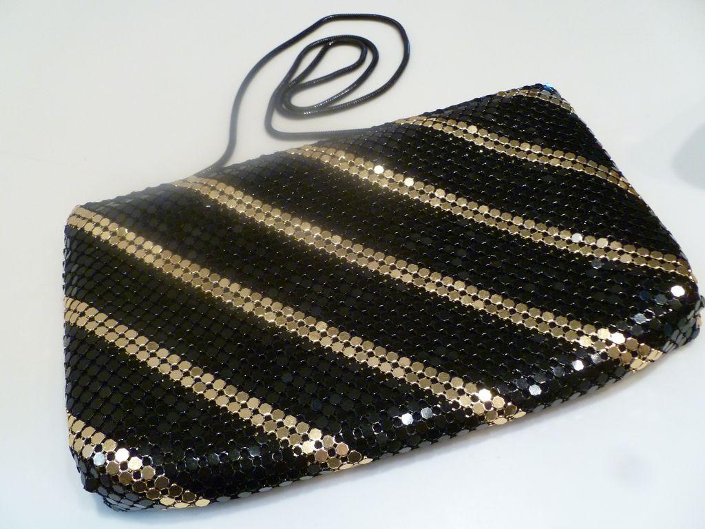 Vintage Black and Gold Mesh Evening Bag Purse