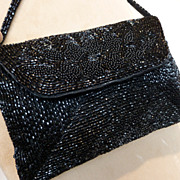 Vintage Walborg Black Beaded Clutch Handbag Purse