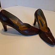SOLD Vintage Lizard Skin Frank Moore Pumps Shoes  -  Size 8B